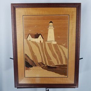Jeff Nelson picture LIGHTHOUSE + BIRDS wood inlay